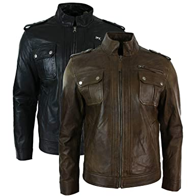 adafab5ea19d Mark Fashion 360 Men's Short Zipped Military Army Style Real Leather Jacket  Black and Brown at Amazon Men's Clothing store: