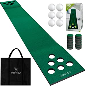 Crestgolf Golf Putting Green Mat,Practice Golf Putting Mat Game Set with 6 Golf Balls,12 Golf Hole Covers for Indoor&Outdoor Short Game Office Party Backyard Use