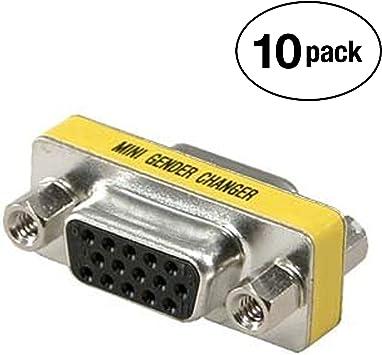 VGA SVGA 15 Pin Female to Female F//F Mini Gender Changer Adapter Connector