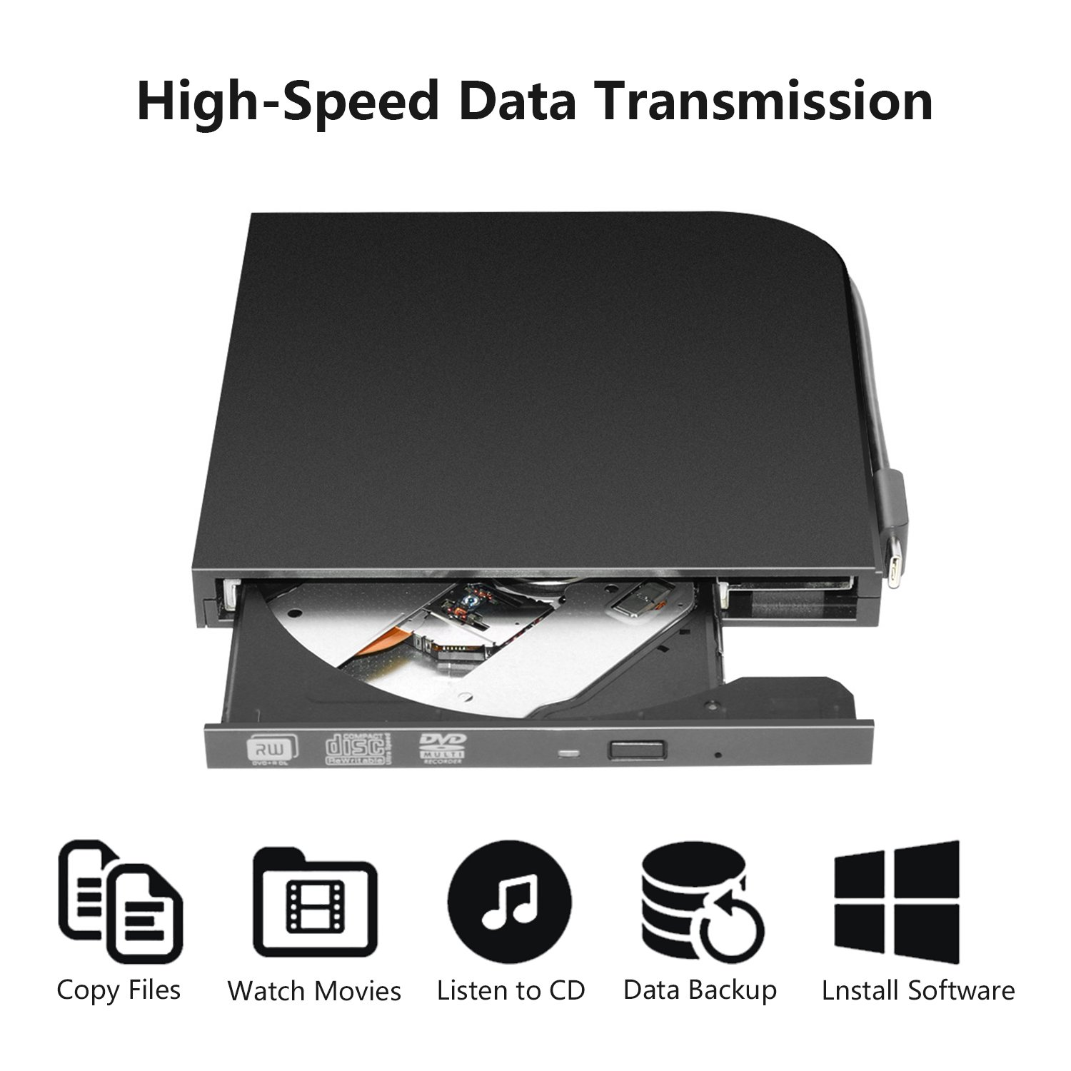 DVD Drive PC Computer CD,External USB Optical Player, Ultra-Thin Portable Type-C DVD Burner/Writer/Rewriter Various Brands Laptop Desktop All-in-one Machines so on