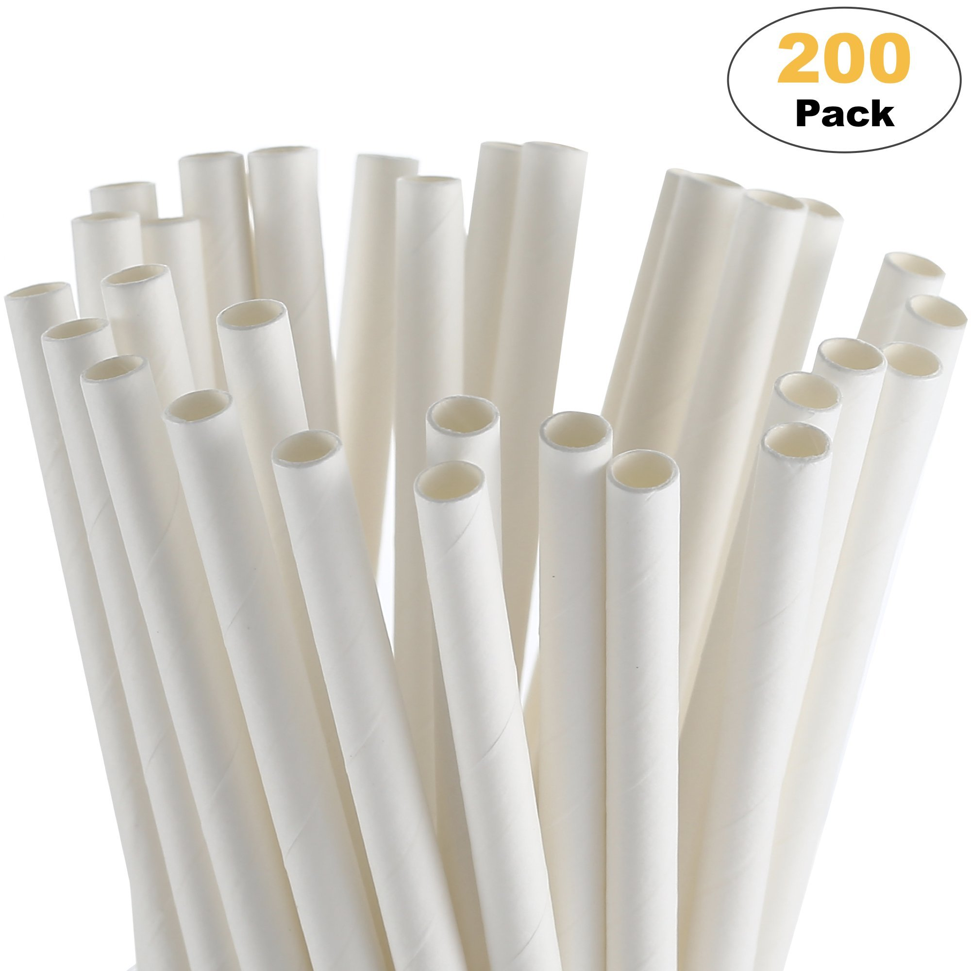 paper straw disposable white 200 pack drinking straws paper party straws biodegradable christmas straws halloween straws coffee bridal shower