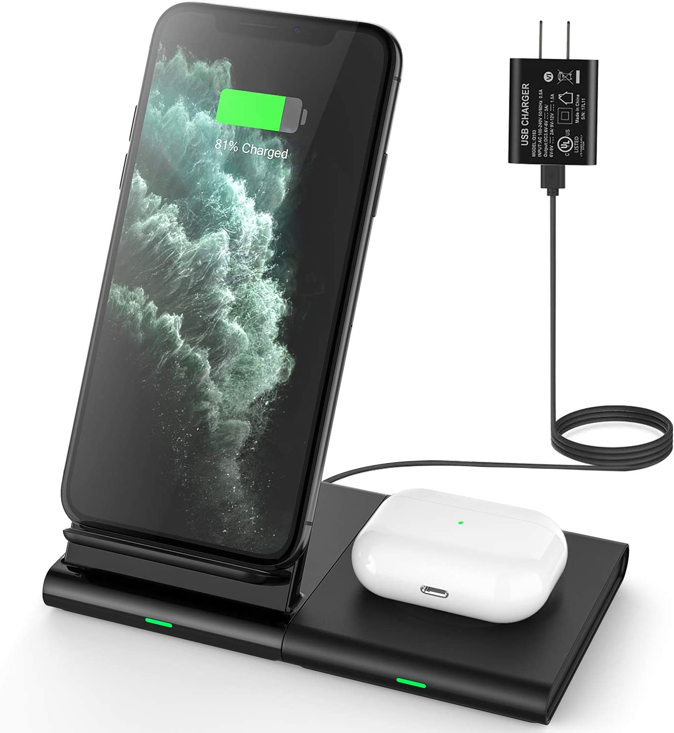 Hoidokly Dual 2 in 1 Wireless Charger Stand Qi 10W Fast Charging Station for Samsung Galaxy S20/S20 ultra/S10/S10e/S9/S8/S7/Note 10/9/8, 7.5W for iPhone SE 2020/11/Pro Max/XR/XS/X/8/8 Plus/Airpods Pro