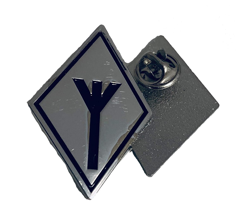 Black Metal Badge Rocker Kutte Biker-Weste Button Metal-Pin Metall-Anstecker Algiz Rune//Lebensrune Pin Anstecker
