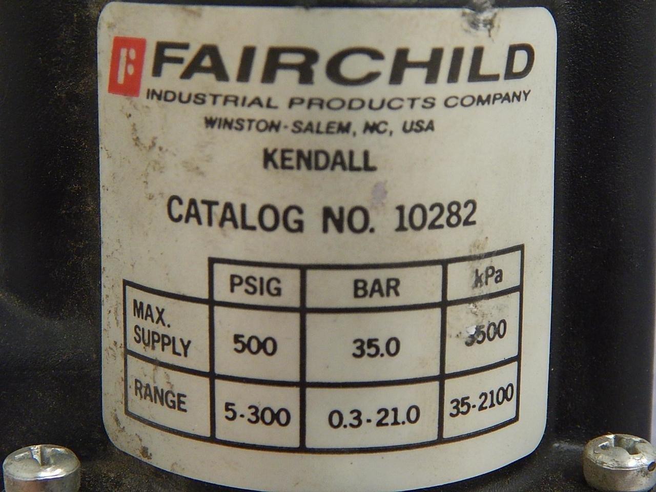 Fairchild 10282 Pneumatic Precision Regulator 500PSI In 5-300 Out 1//4 NPT