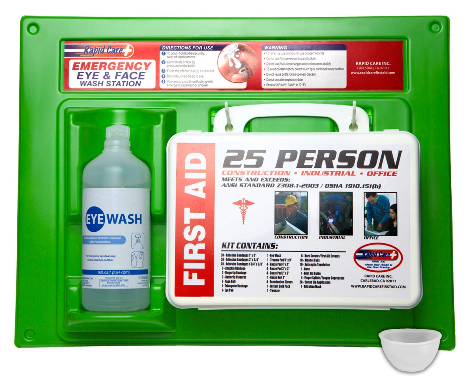 Rapid Care First Aid 661755 16 Oz. Eye Wash Station with First Aid Kit (166Piece for 25 Person), OSHA/ANSI & FDA Compliant, Bonus Reusable Eye Cup & Mounting hardware, 17'' x 10 3/8'' x 3 1/2''