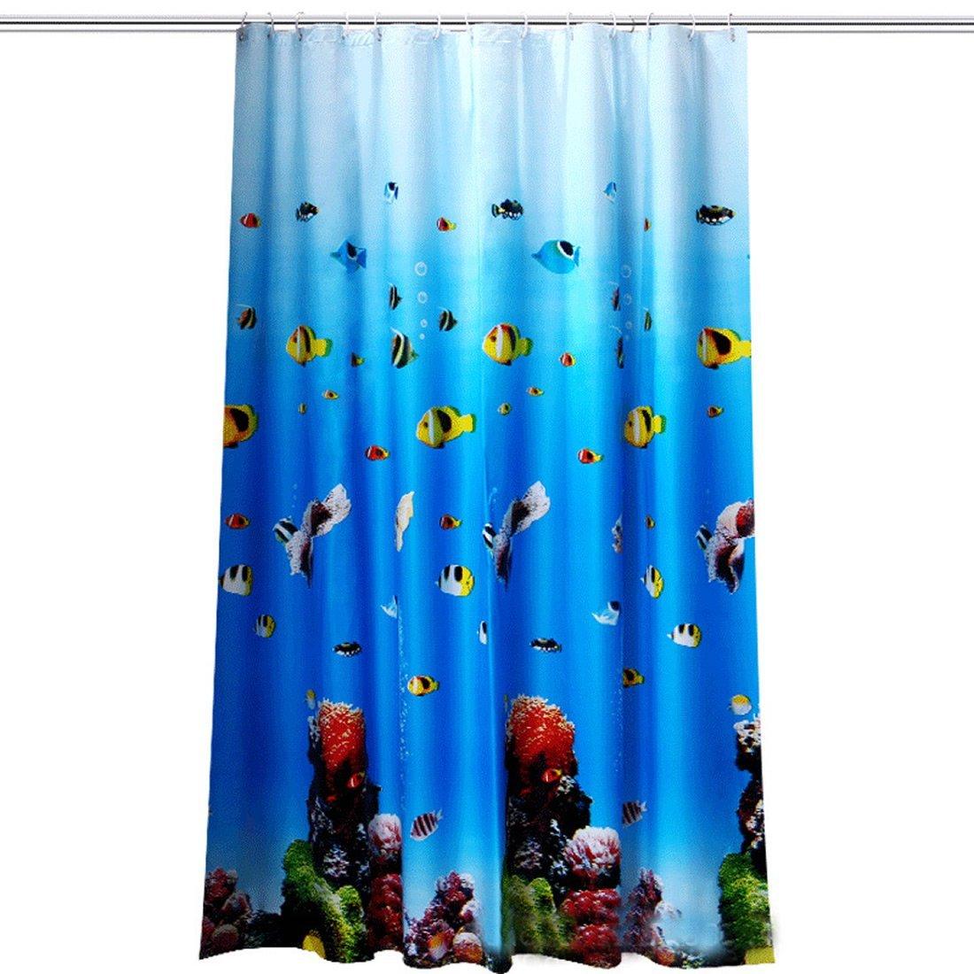PEVA Tenda da doccia impermeabile spessa Mehltau stile europeo tenda da doccia invio ganci tenda doccia Ring Oceano World, Poliestere, 80x180cm MANYYSI