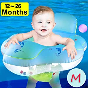 AMENON 【Anti Rollover】 Baby Pool Floats Swimming Ring with Safe Seat & Backrest, Inflatable Baby Swimming Float, Swimming Pool Accessories-Newborn Baby Kid Toddler (M-12-26Months (20-31lbs)) (M)