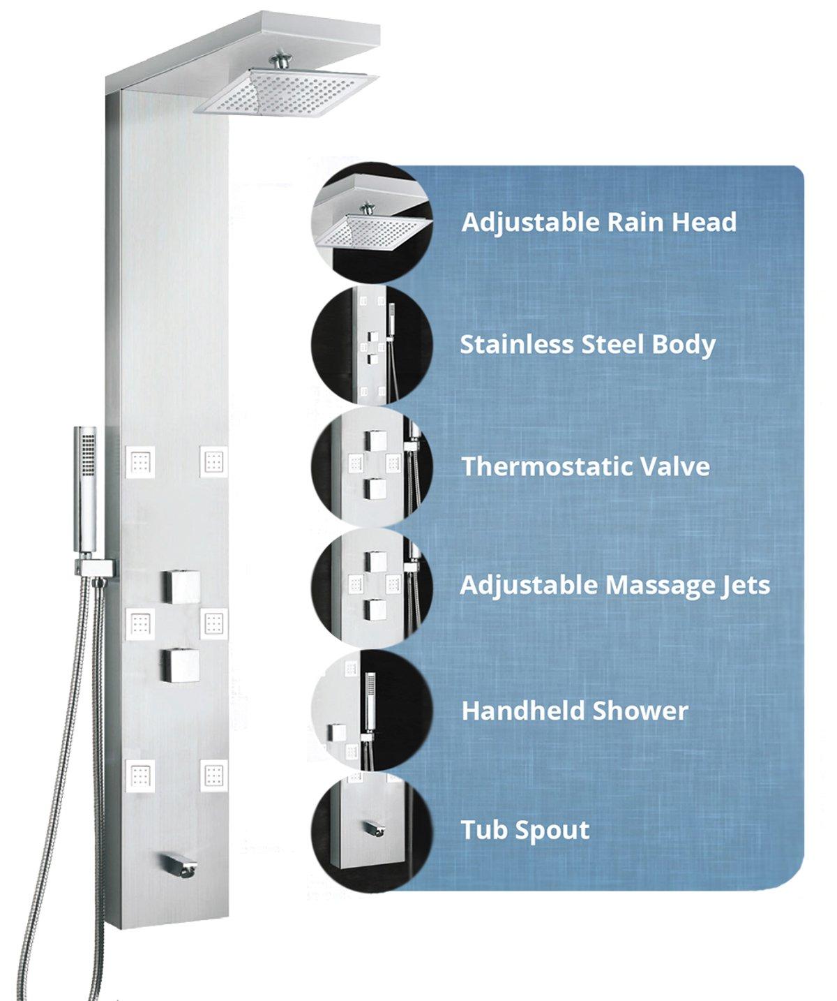 Kitchen&Bath Stainless Steel Shower Panel Tower 59\
