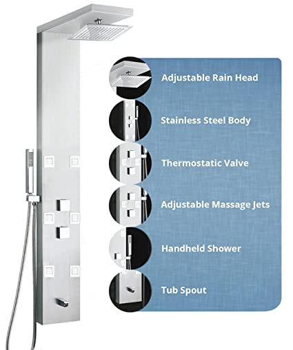 Kitchenu0026Bath Stainless Steel Shower Panel Tower 59u0026quot; With 6 Jets Tub  Spout And Rainfall Shower