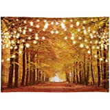 Funnytree 7x5FT Durable Fabric Glitter Autumn Forest Photography Backdrop Sparkle Natural Scenery Fall Landscape Leaves…