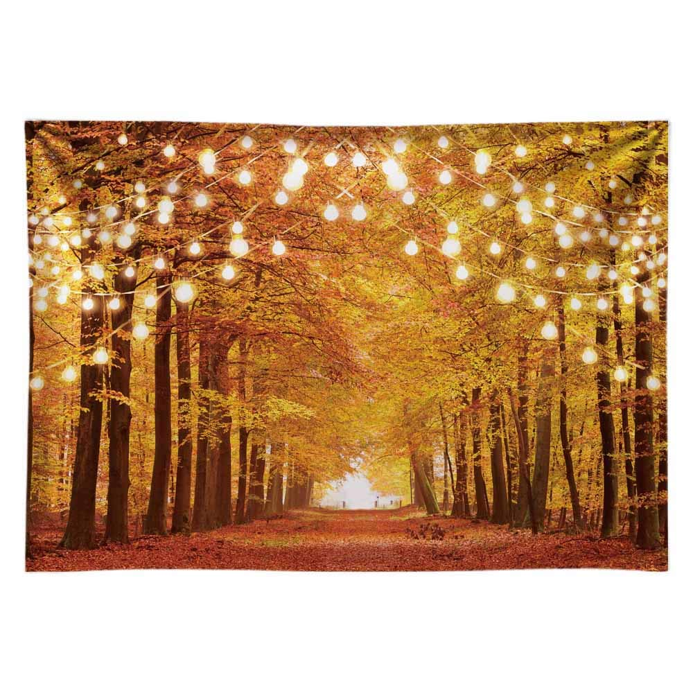 Funnytree 7x5FT Durable Fabric Glitter Autumn Forest Photography Backdrop Sparkle Natural Scenery Fall Landscape Leaves Party Banner Photo Backgound Decor Photocall by Funnytree