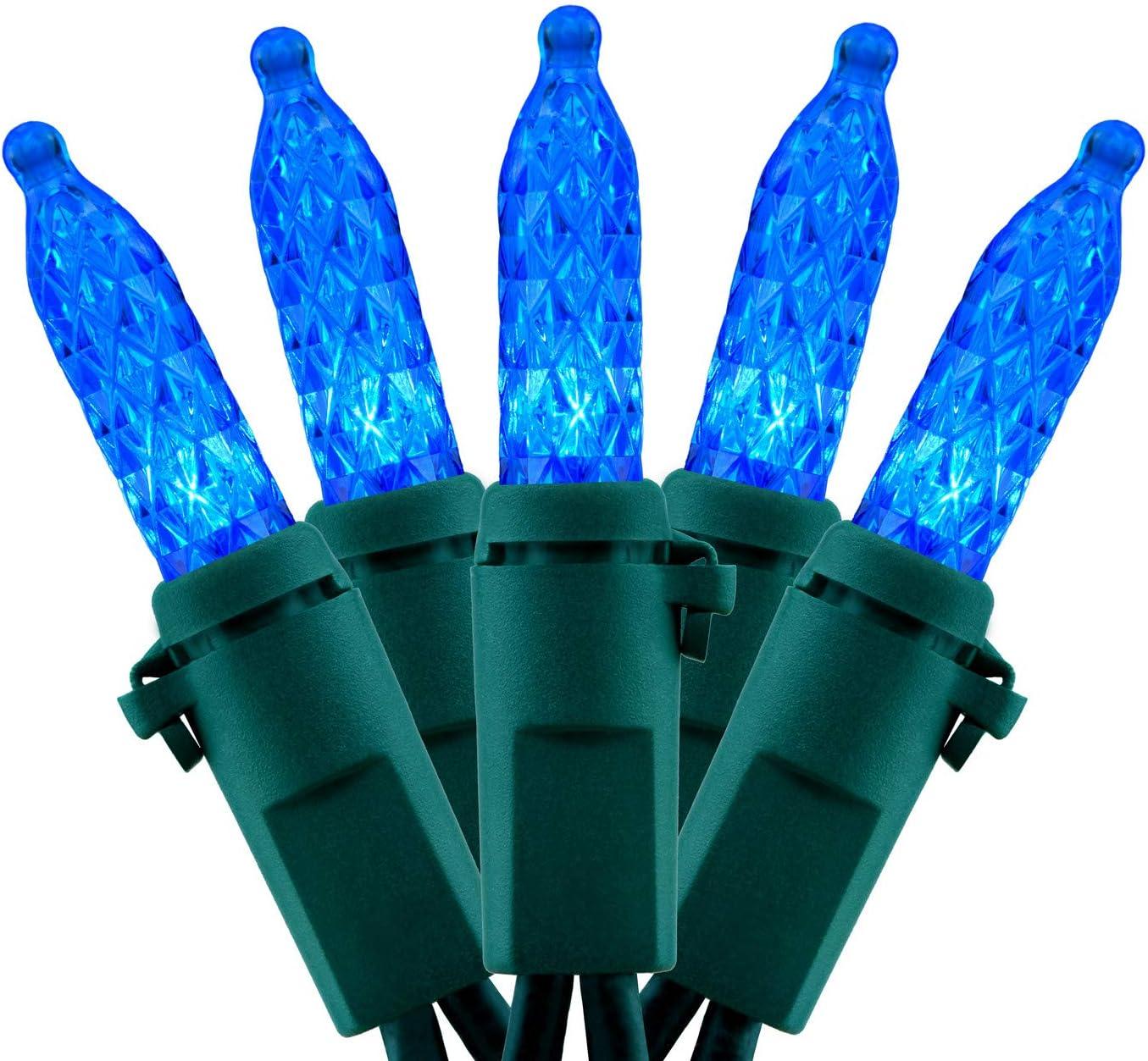 66 Feet 200 Count Blue Faceted LED Christmas String Lights, 2-Strand 33 Ft 100 Lights 4