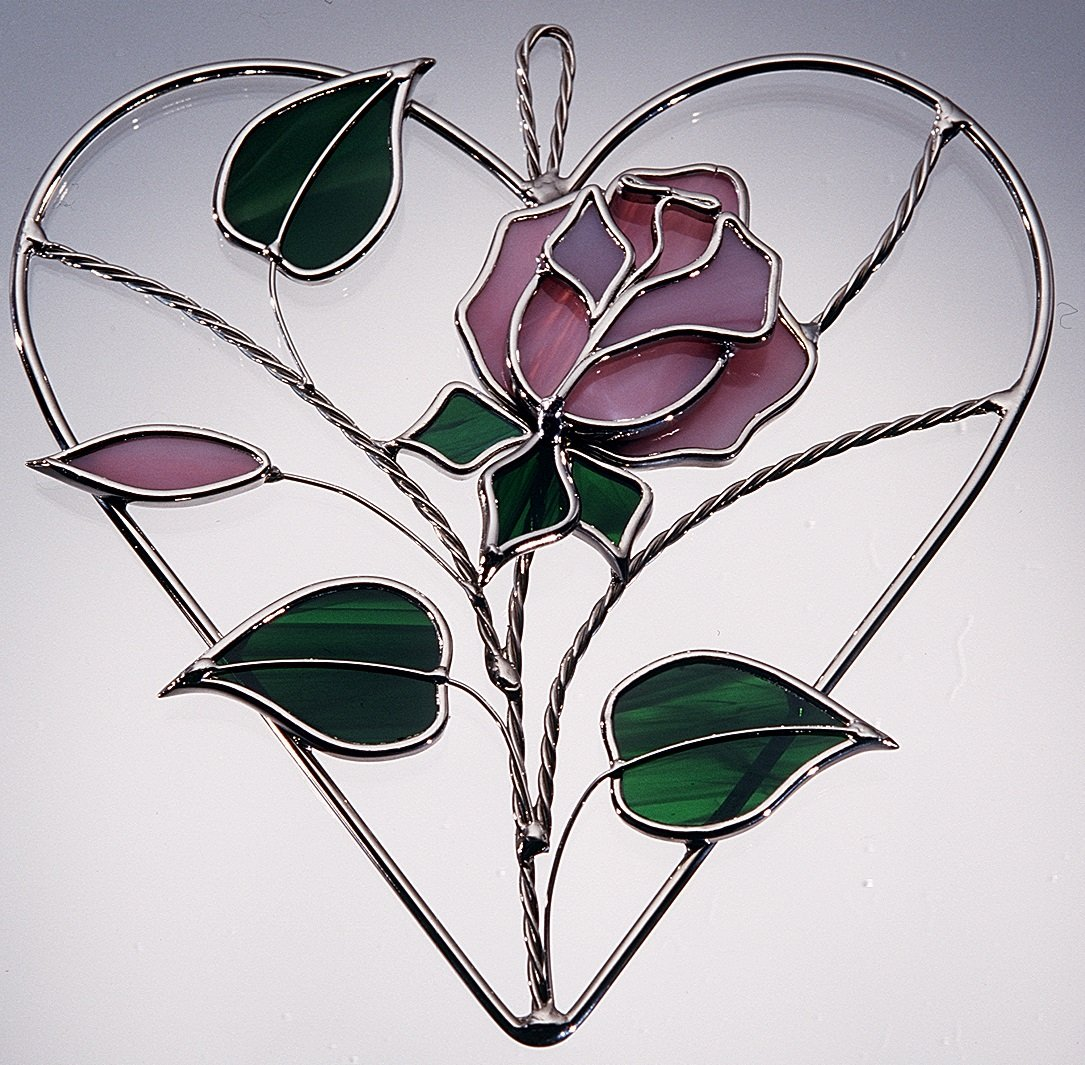 Stained Glass Pink Rose on Wire Heart Ring