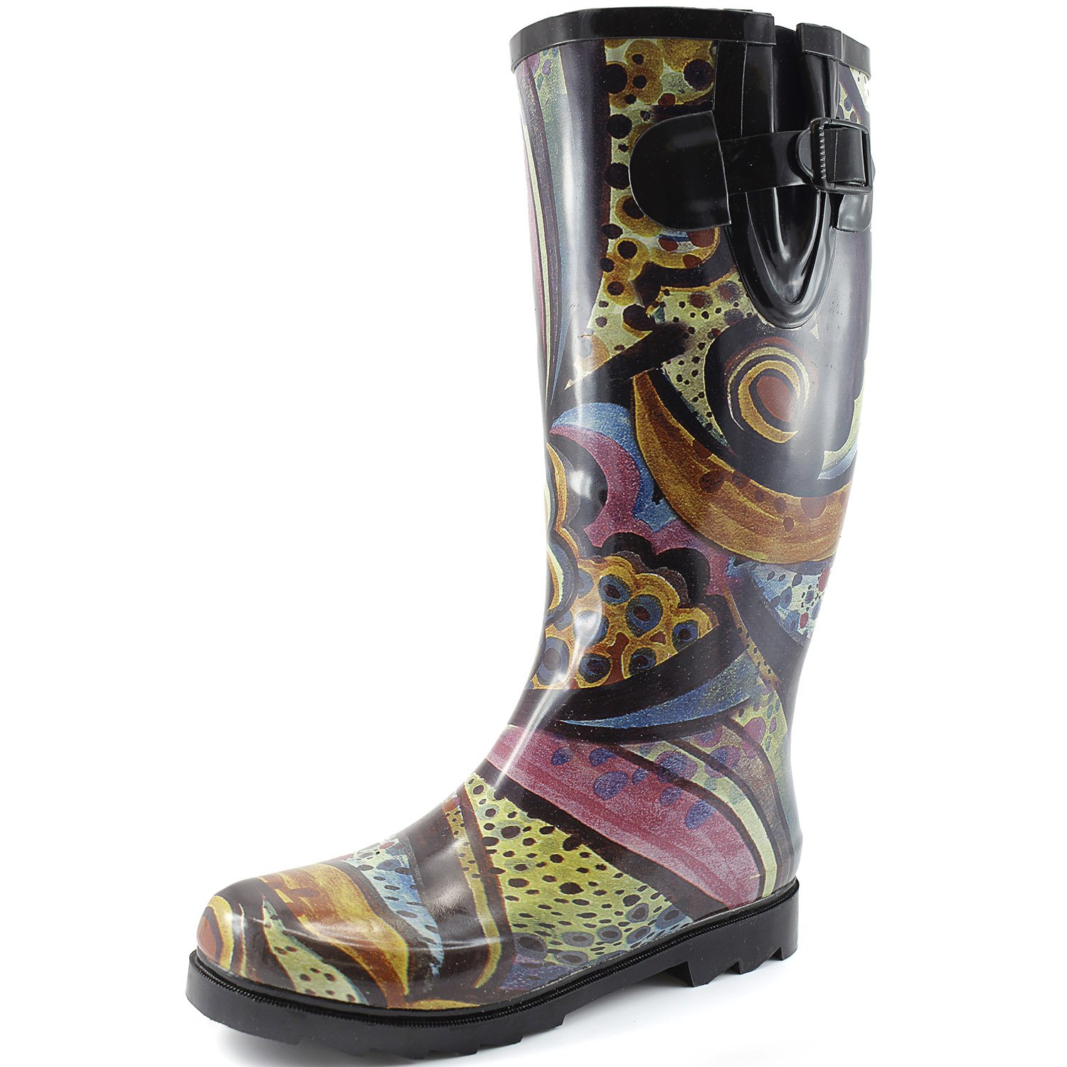 DailyShoes Women's Puddles Rain and Snow Boot Multi Color Mid Calf Knee High Rainboots,Monet 9 B(M) US