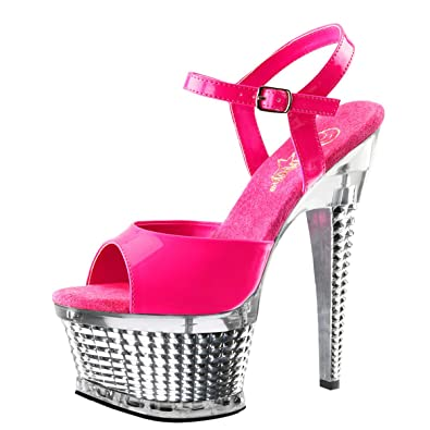 Summitfashions Womens Hot Pink Sandals Silver Platform Shoes Neon UV  Reactive 6 1 2 Inch c2589ff802
