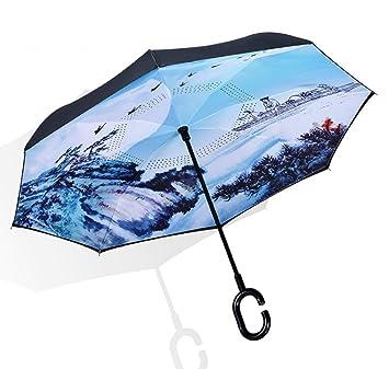 WKAIJCK Paraguas Paraguas Paraguas Doble Paraguas Invertido Tipo C Automotriz Portátil Manos Libres Doble Capa Paraguas