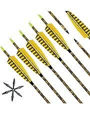Narchery Pfeile, 31 Zoll Camo Bogenpfeile Carbon Pfeile für Bogenschießen mit Naturfeder, Jagdpfeile für Bogen, Recurvebogen, Langbogen und traditionellen Bogen