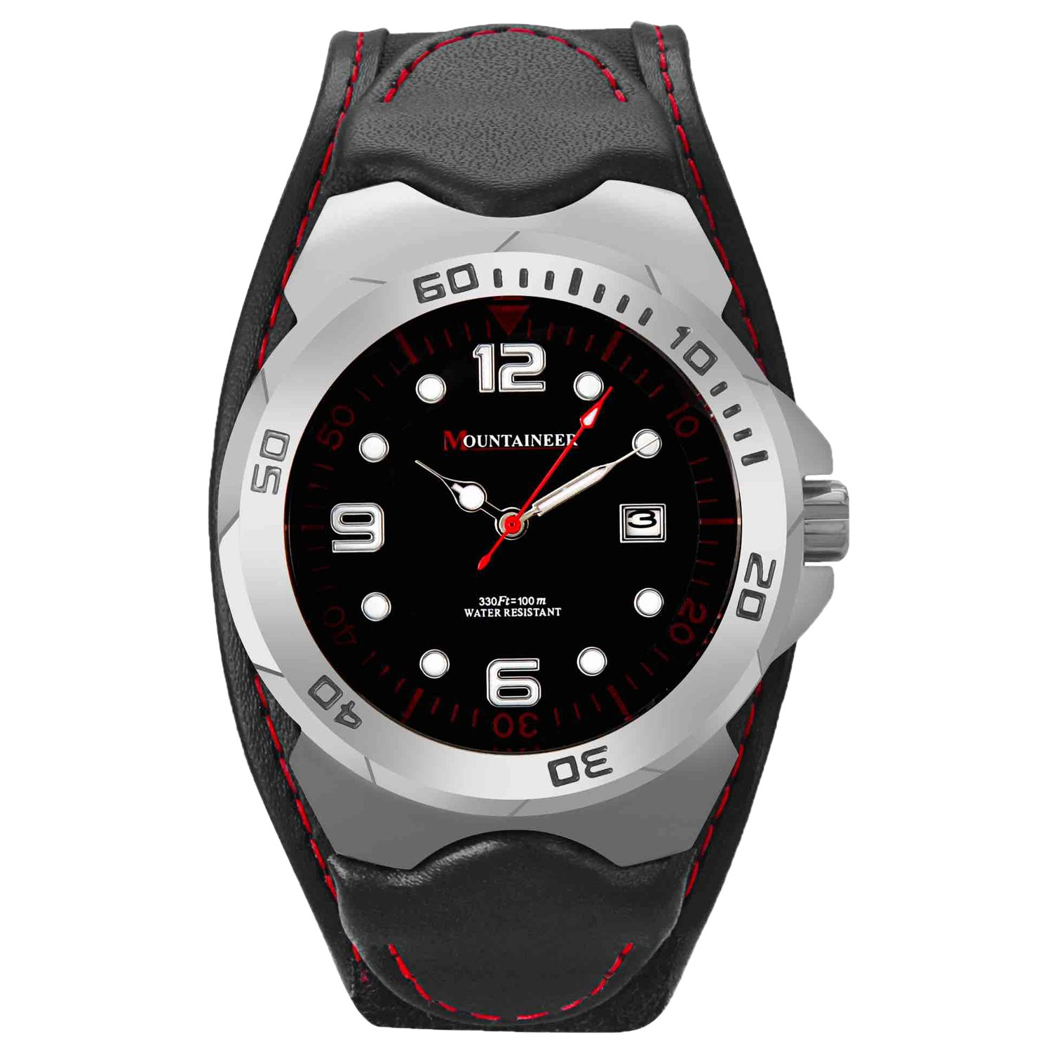 Mountaineer Mens Sport Watch Analog Black Leather Nylon Strap Red Stitching Reloj para Hombre MN1451