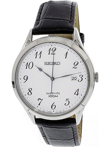 Seiko Reloj Analógico para Hombre de Cuarzo con Correa en Cuero SGEH75P1: Amazon.es: Relojes