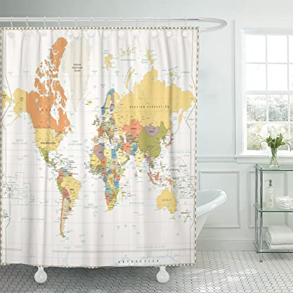 Amazon emvency fabric shower curtain curtains with hooks blue emvency fabric shower curtain curtains with hooks blue vintage world map retro white color with labeling gumiabroncs Gallery