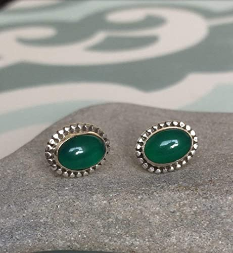 each Cabochon Cut 5mm x 0.70 Carat Natural Green Onyx Green Onyx Earrings Sterling Silver Green Onyx Studs