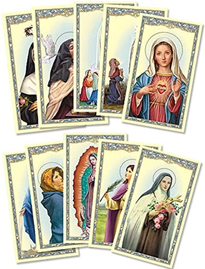 Assorted Catholic Female Patron Saint Holy Prayer Cards, 4 1 8 Inch, Pack of 100