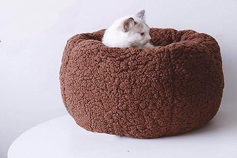 Lamzoom Cama Ovalada de Lujo para Perros y Gatos, con Forro Polar Ovalado, Suave