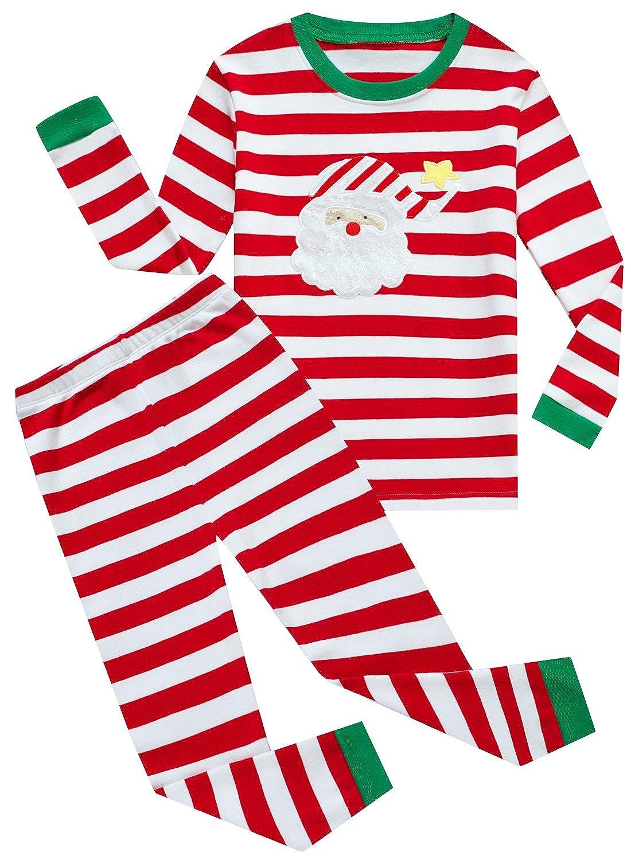Family Feeling Little Boys Girls' Stripe Christmas PJS Cotton Pajama Sets CCGreenSD