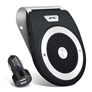 Bluetooth Car Speakerphone Kits,Bluetooth 4.1 Hands-Free Motion AUTO-ON Car Kit Stereo Music Speaker Wireless Sun Visor Player Adapter Built-in Mic & Car Charger,Connect 2 Phones at Same Tim (Black)