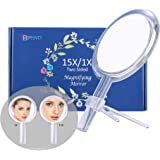 Beauty Planet 6 Inch 15X Magnifying Mirror, Two Sided Mirror, 15X/1X Magnification, Makeup Mirror with Handheld/Stand…
