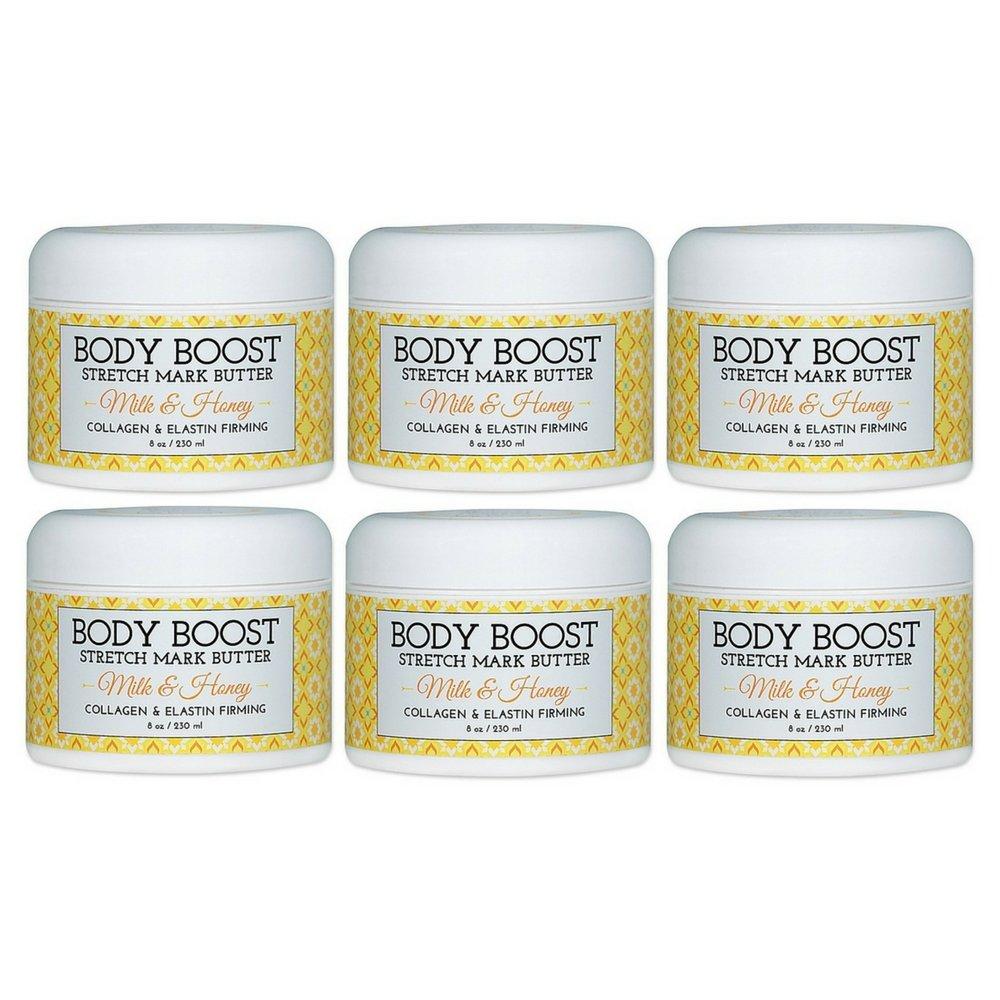 Body Boost Milk & Honey Stretch Mark Butter 8 oz.- Pregnancy and Nursing Safe Skin Care (6pack)
