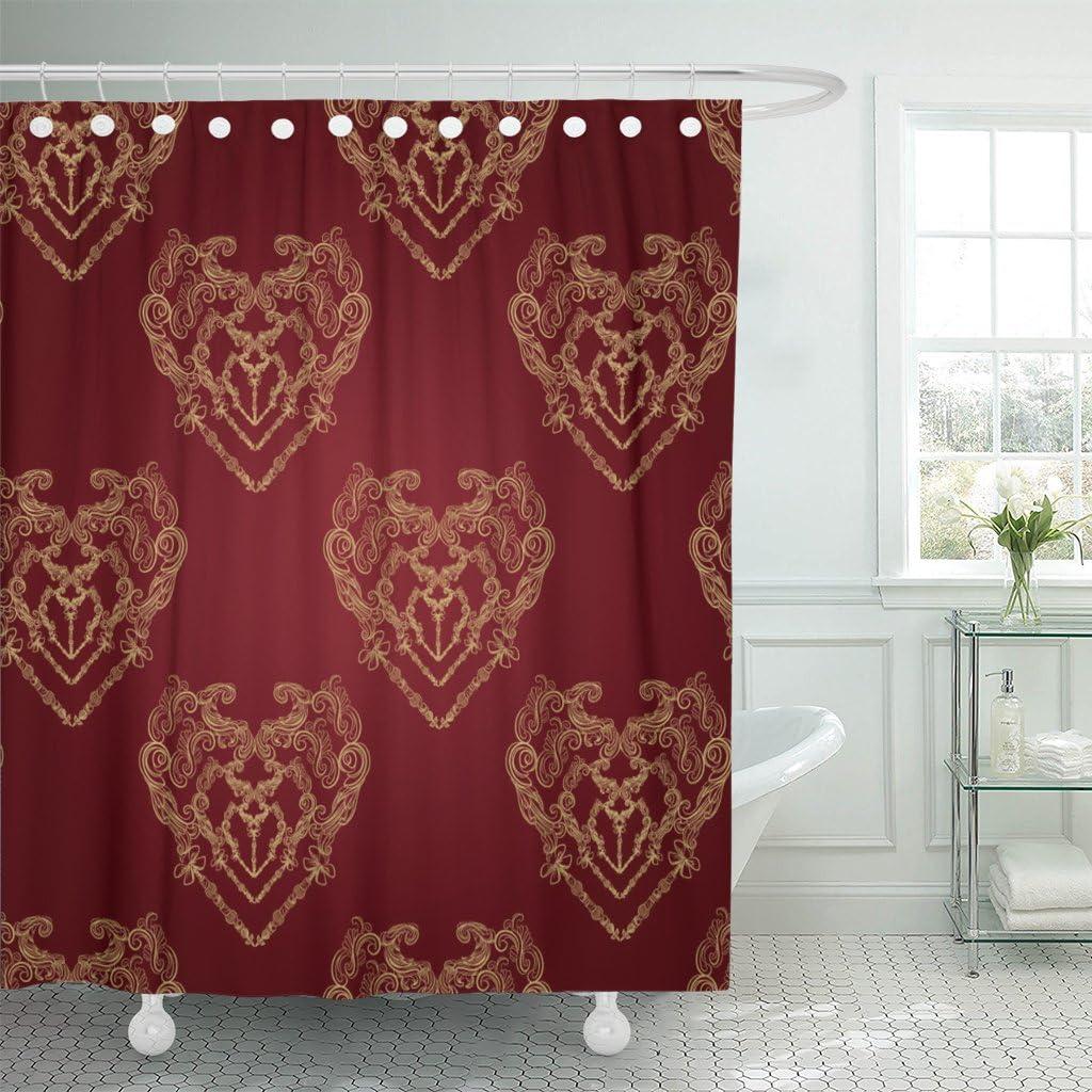 FREE USA SHIPPING Red Damask Shower Curtain Originally $72