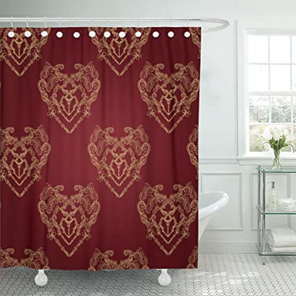 Image Unavailable Not Available For Color Emvency Shower Curtain Red Gold