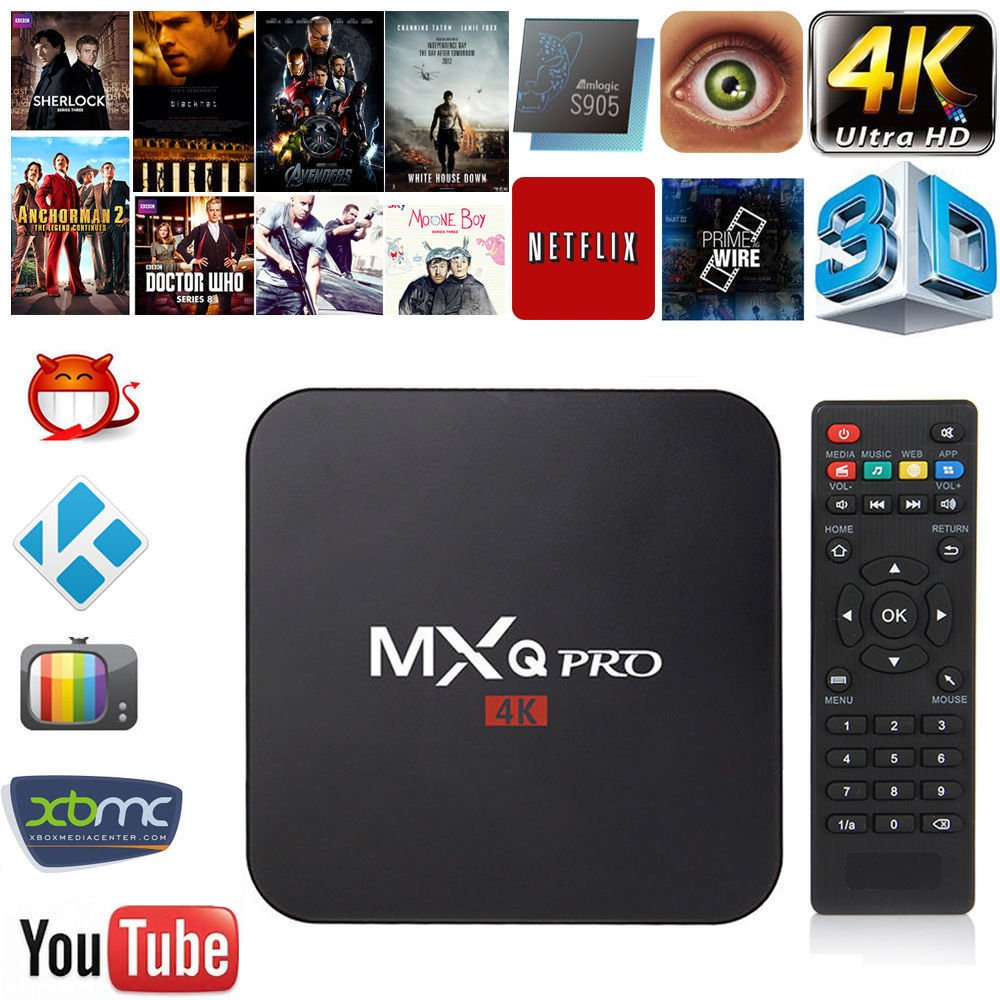 MXQ Pro 4K 3D 64Bit Quad Android 7 1 Core Smart TV Box 1080P WiFi 1+8G