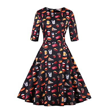 Autumn Vintage Dress for Women Unique Foods Print Hamburgers Cute Black Dress A Line Cotton Feminino