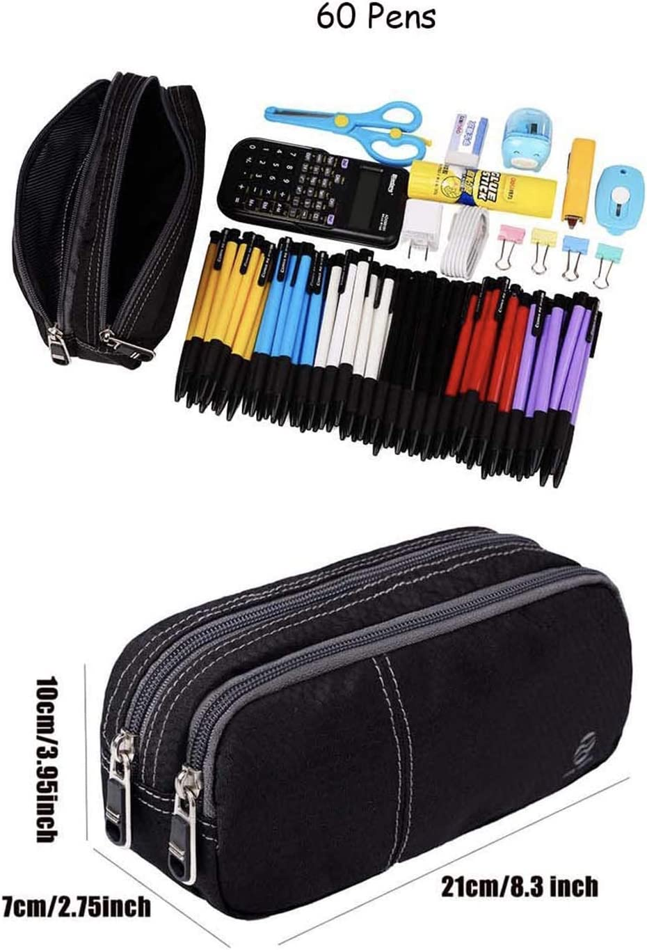 NAVY Personalised Canvas Pencil Case with 12 Colouring Pencils /& 2 HB Pencils