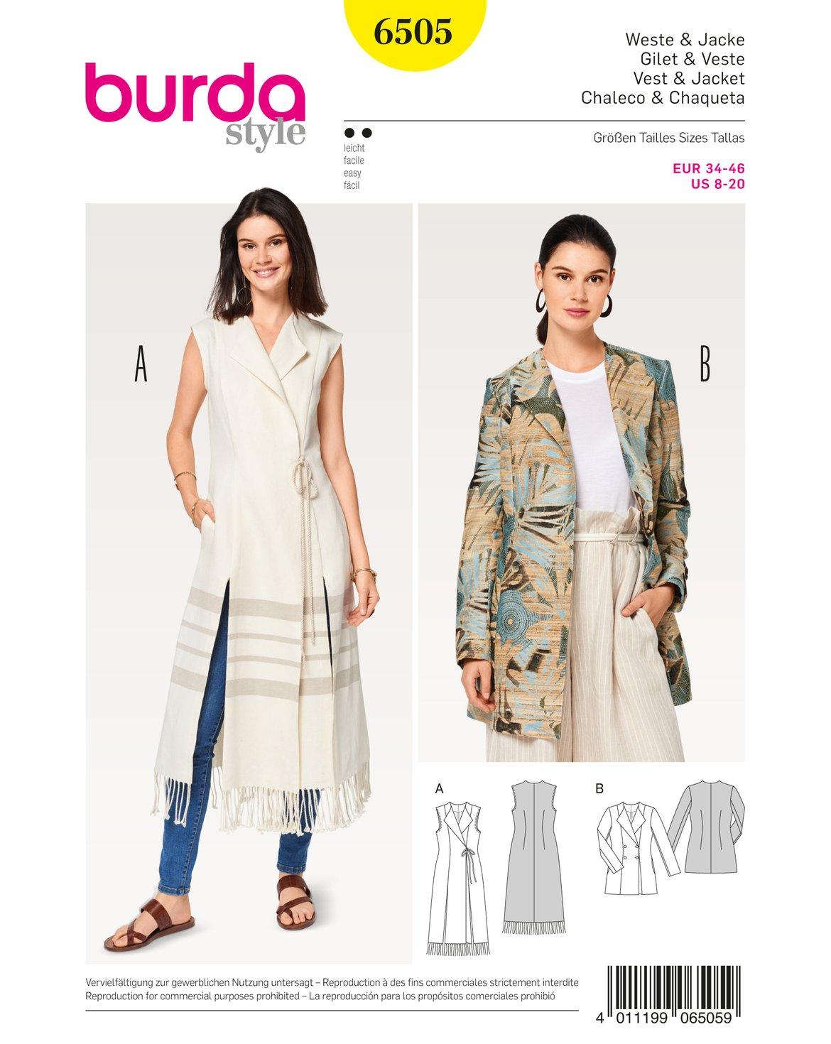 Burda patrón de costura para patrones de costura para chaleco ...