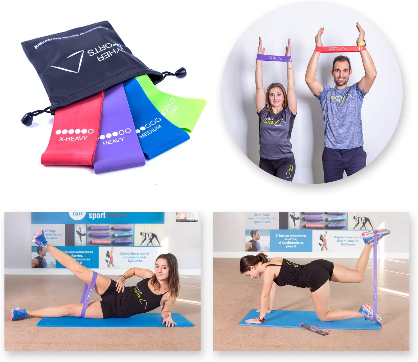 Ryher Set 4 Cintas elasticas musculacion - Bandas de ...