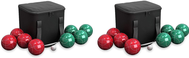 Hey! 遊びましょう。 80-76090 ボッチボールセット - 裏庭、芝生、ビーチなど用アウトドアファミリーボッチゲーム- レッド4個とグリーンボール4個、パリーノ&キャリーケース B07L3XSP98  (4.Units)