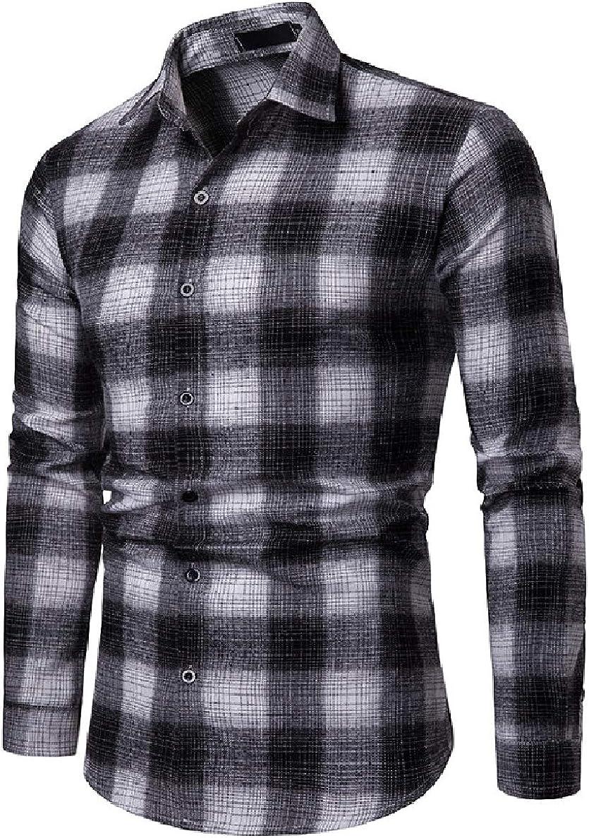 Winwinus Men Fitted Plaid Pattern Long-Sleeve Lapel Casual Shirt