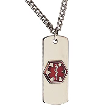 Amazon com: Emerg Alert Medical Alert Emergency ID Necklace