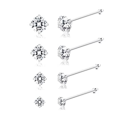 Sllaiss 8 Pieces Tiny Sterling Silver Nose Studs Set For Women Girls Czech Crystal Nose Piercing
