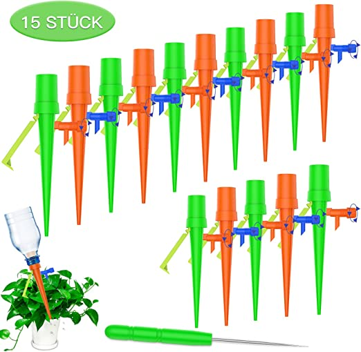 FYLINA - Set de riego automático, 15 unidades, sistema de riego ajustable para jardín para plantas, riego de flores, plantas de interior, riego con soporte resistente a la intemperie, naranja: Amazon.es: Jardín