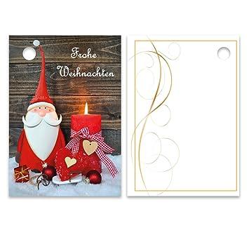 Geschenkanhänger Frohe Weihnachten.25er Pack Geschenkanhänger Frohe Weihnachten Weihnachtsmann Ca 52 X