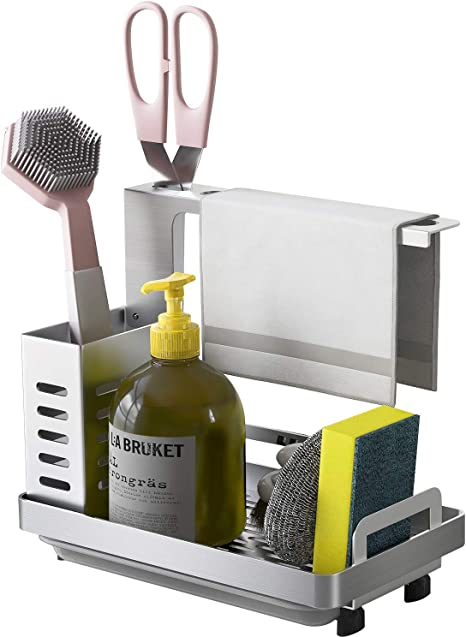 Amazon Com Lsk Kitchen Sink Caddy Organizer Stainless Steel Sponge Soap Brush Holder With Drain Pan Tray For Countertop Wall Mounted Kitchenware Silver Kitchen Dining