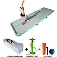 Starzcom Gymnastic Air Track Tumbling Mat, 3.0m x 1.0m x 0.1m Tumble Track Air Mat – Our Premium, Grippy, Bouncy Inflatable Gymnastics Air Mat with Air Pump. Fit for Adults and Kids - Mint