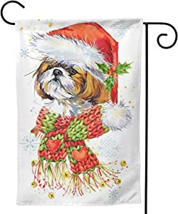 Only Pineapple Christmas Shih Tzu Dog Winter Scarf Seasonal Family Welcome Double Sided Garden Flag Outdoor Funny Decorative Flags for Garden Yard Lawn Decor Party Gift Many Sizes