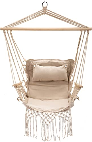 Bestmart Hanging Rope Quilted Hammock Chair Patio Cushion Seat Indoor Outdoor Swing Chair Beige