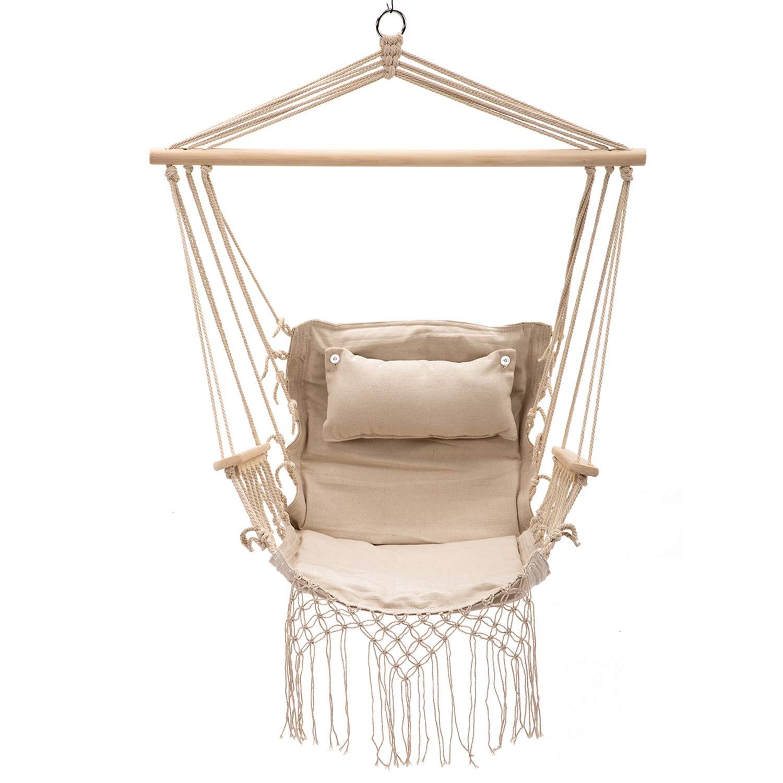 Bestmart Hanging Rope Quilted Hammock Chair Patio Cushion Seat Indoor/Outdoor Swing Chair (Beige)