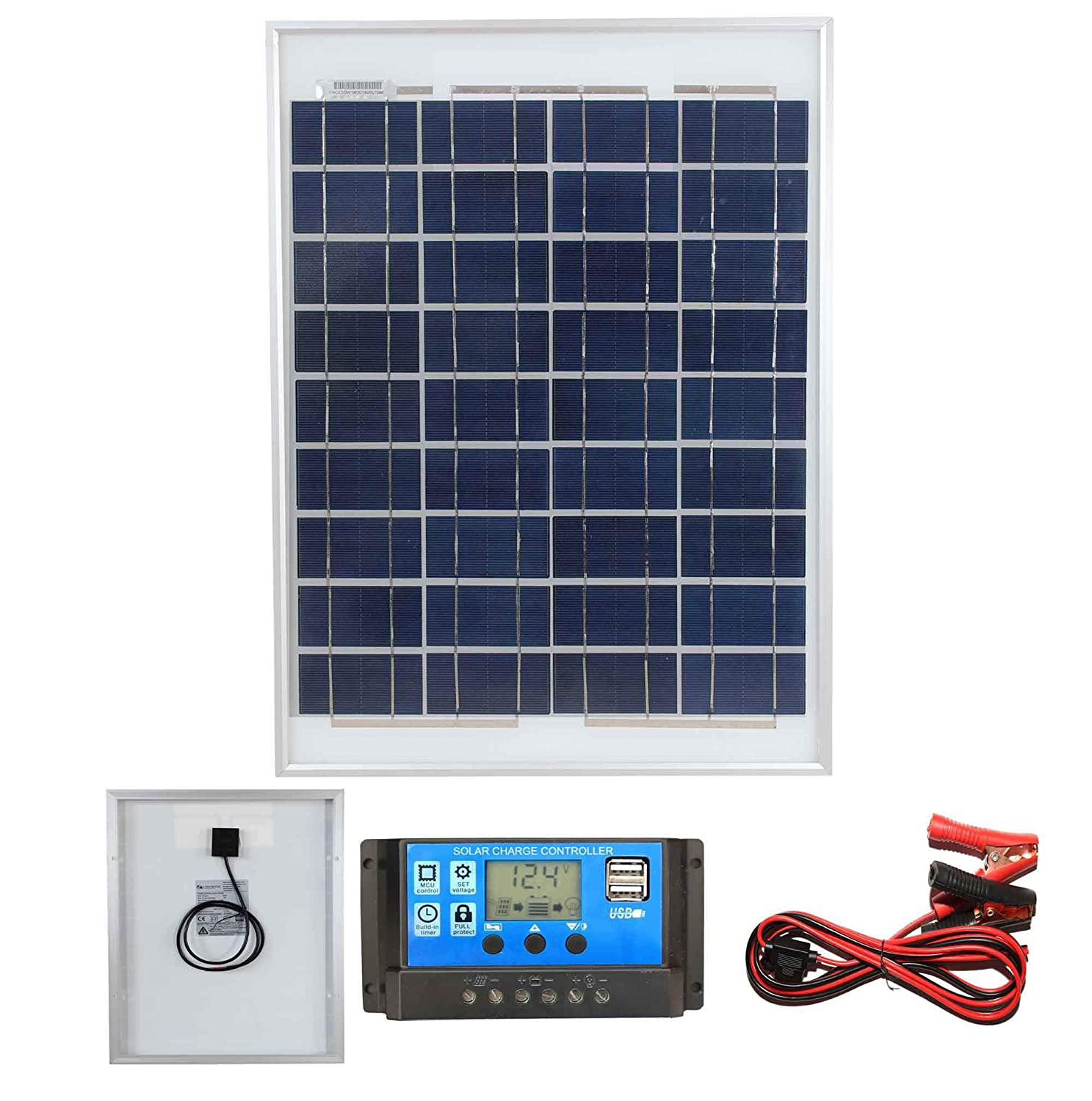 For Caravans Lowenergie 150W Poly-Crystalline Solar Panel Battery Charging Kit with Charger K1 Boats /& Any Flat Surface Motorhomes